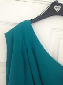 One shoulder green dress for sale