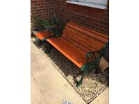 Cast Iron Garden bench and matching coffee table/ furniture set
