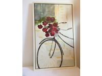 Dominguez signed large frame canvas bicycle red flowers original giclee