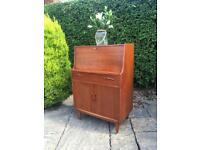 Vintage SIDEBOARD BUREAU teak solid wood 1970 tapered legs retro