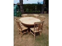 Dining table oval extending& 6 chairs pine