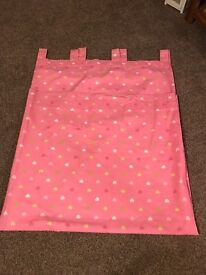 Pink girl bedroom lined curtains with love hearts on them