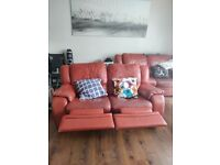 Two seats reclining leather sofa