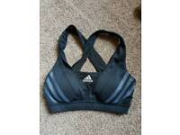 Sports bra adidas size 6 xs extra small black activewear workout gym runnung bra