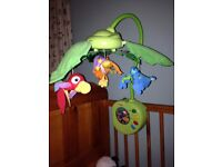 Rain forest musical cot mobile