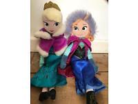 Frozen Elsa and Anna soft toy dolls