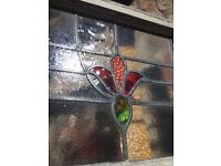 Vintage Stained Glass Window + Frame X2 (W43cmXH55cm)