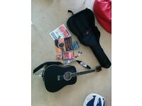 Black Stagg Left Handed Acoustic Guitar With Extras - Perfect for Beginners