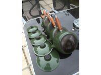 Genuine Le Creuset Set Of Five Green Cast Iron Saucepans With Lids