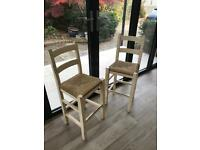 2 white oak stools