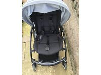 Bugaboo bee plus pushchair - limited edition black chassis with extendable grey melange hood