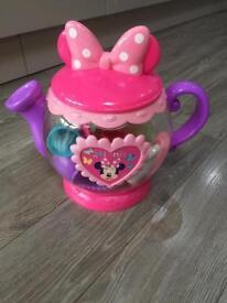 Disney mini mouse tea pot with tea party items