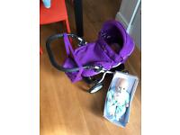 Silver cross pram (play) with baby Annabelle/Tiny tears