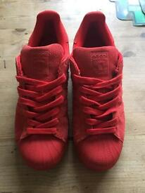 Adidas superstar red suede U.K. Size 7