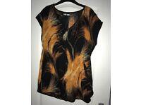 Womans Black & orange pattern top Size 14