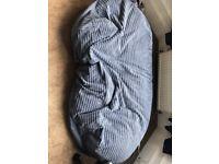 Blue Corduroy Sofa Bed Bean Bag