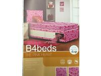 Single Pink Heart Bed with Storage