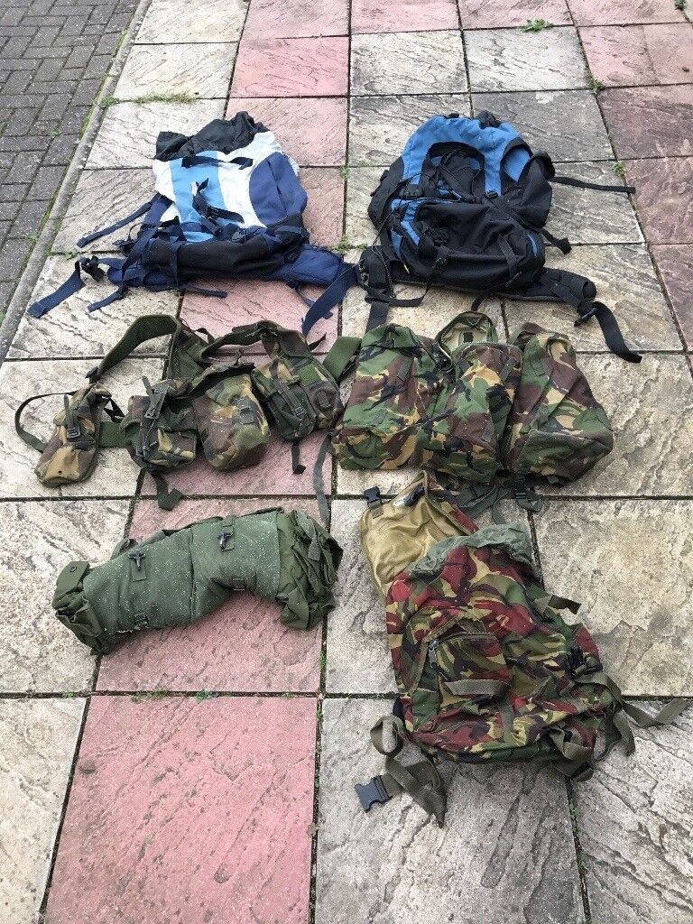 Army clothes, bags and bivvy tent