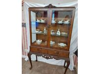 Beautiful ornate glass display cabinet Queen Anne Style