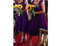 Cadbury Purple Bridesmaids Dresses, immaculate condition. Sizes 8 to 14 and one 14 yrs
