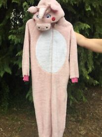 Pale pink fleecy unicorn onesie age 13