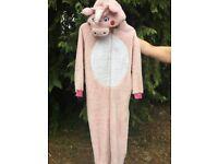 Pale pink fleecy unicorn onesie age 13