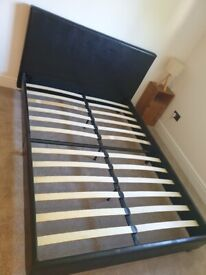 Faux leather dark brown double bed frame