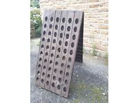 Vintage Antique French Solid Oak Wooden Riddling Rack Champagne Wine Double Bar