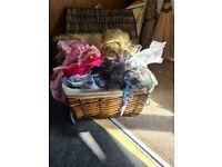 Wicker basket full off material scraps
