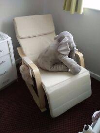 Cream/Beige and Wooden HOMCOM Rocking Chair With Adjustable Footrest & Side Pocket