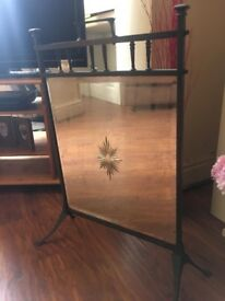 Original Copper Framed Mirrored Fire Screen Distressed Patina Mirror- can deliver