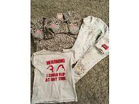 3-4 pjs and tshirt girls onesie