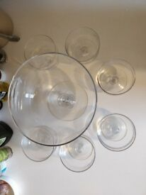 Large glass trifle bowl and matching set of six glasses