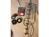 Worth £100 new - unused TV aerial / signal booster / two gold plated coax