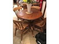 "Antique Pine Kitchen Table And 4 Chairs 36"" Diameter"