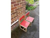 X2 toddlers wooden chairs
