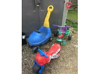 Kids child's push along car and bike and ride on motorbike garden toys