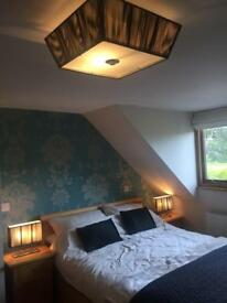 Bedside lamps and ceiling light