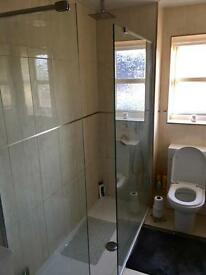 Walk in shower screens and base.