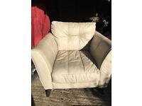 Cream leather armchair H85cm/W100cm/D95cm