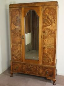GOLDEN BURR WALNUT ART DECO MIRROR DOOR WARDROBE FREE DELIVERY EDINBURGH GLASGOW TAYSIDE FIFE AREAS