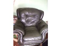 Green Leather Arm Chair