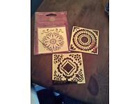Craft brass embossing stencil bundle, patterned x3