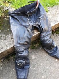 Size 40 Wolf Titanium series leather motorbike trousers. Some use but plenty of life left in them.