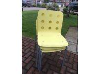 3 yellow ikea chairs