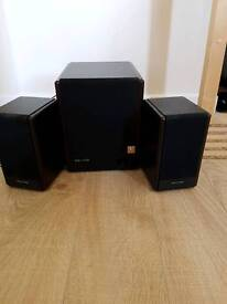 Microlab wooden subwoofer and speakers