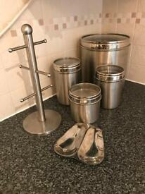 Kitchen canister and cup holder