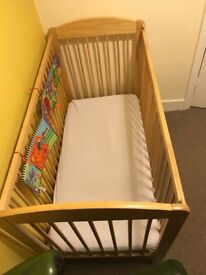 Baby cot for sale with mattress and changing mat