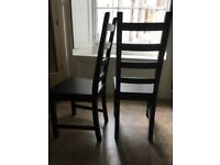 TWO dining chairs! Perfect! Black wood