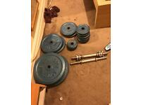 Cast Iron weights & barbell & Dumbells